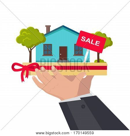House sale concept vector. Flat design. Hands holding salver with house building, trees and rent sign on it. Illustration for real estate company advertising, housing concepts. Isolated on white.