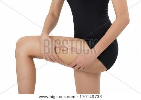 woman holding her beautiful healthy body with massaging thigh in pain area Isolated on white background.