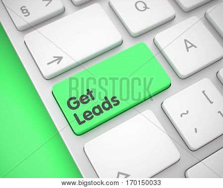 Business Concept: Get Leads on the White Keyboard lying on the Green Background. Aluminum Keyboard Button Showing the Message Get Leads. Message on Keyboard Green Key. 3D Render.