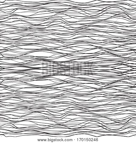 hand drawn seamless pattern. wavy stripes vector background