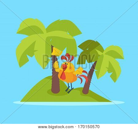 Rooster bird on tropic island. Cock at rest. Palm trees, sea and ocean. Holidays in hot countries. Chinese calendar zodiac cock horoscope. Chicken character collection in flat. Vector illustration
