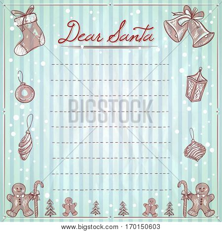 Dear Santa christmas illustration with empty space for text, wish list, xmas elements and frame