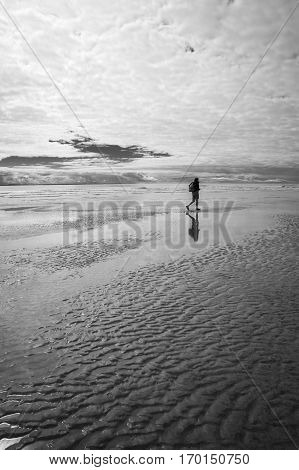 Black and white maritime seaside landscape with man walking on the sand garonne estuary near Royan France