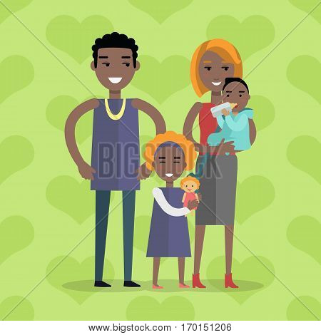 Family vector concept. Flat design. Genetic similarity to parents. Little boy on mother hands eating bottle, girl with doll standing between father and mother. Couple with son and daughter