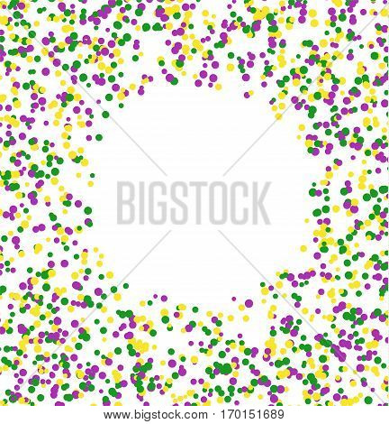 Mardi Gras abstract pattern made of colored dots on white background with blank circle in center. Yellow green and purple confetti for carnival backdrop design element. Vector illustration.