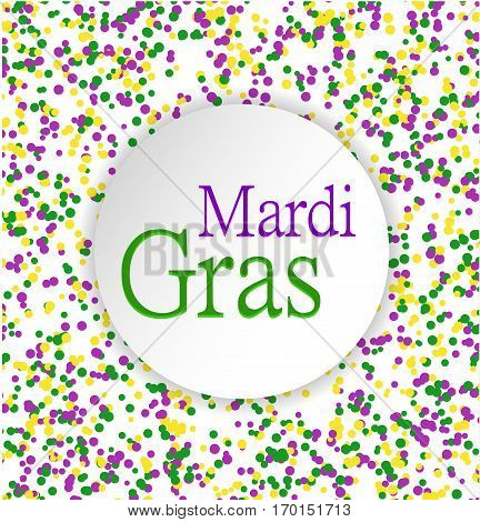 Mardi Gras abstract pattern made of colored dots on white background with colored words in circle in center.Yellow green and purple confetti for carnival backdrop design element. Vector illustration