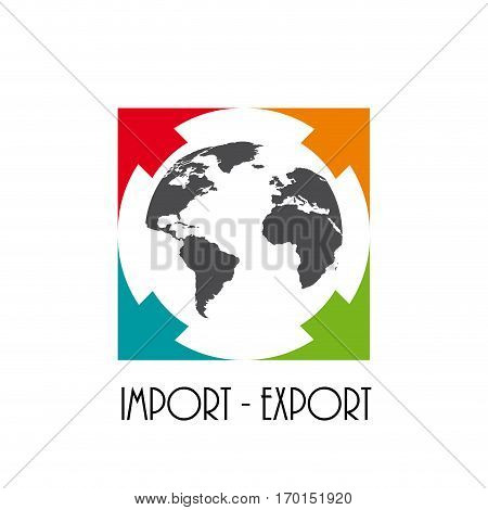 Vector sign import export isolated on white