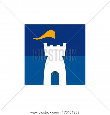 Vector sign castle with flag isolated on white