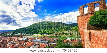Landmarks of Germany - medieval Heidelberg town, city view from castle
