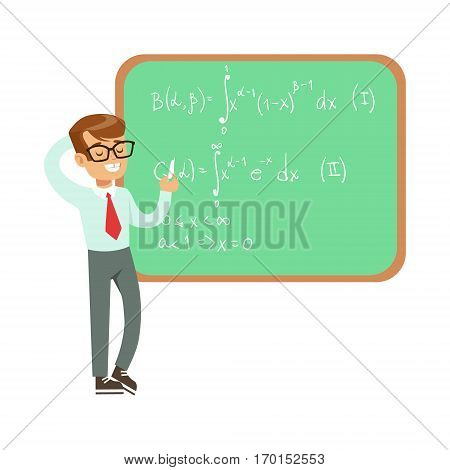 Boy Mathematician Writing Formulas On Blackboard, Kid Doing Science Research Dreaming Of Becoming Professional Scientist In The Future. Part Of Series With Children Working In Different Scientific Fields Vector Illustrations.