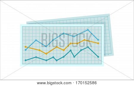 Colour diagram on squared paper. Diagram icon. Concept of online business, commerce statistics, business analysis, information. Isolated object on white background. Vector illustration.