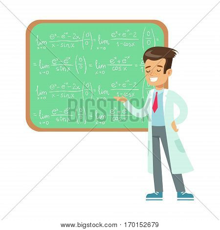 Boy Mathematician Writing Formulas On Blackboard, Kid Doing Math Science Research Dreaming Of Becoming Professional Scientist In The Future. Part Of Series With Children Working In Different Scientific Fields Vector Illustrations.