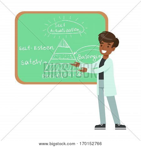 Boy Psychologist Draing Hierarchy Of Needs On Blackboard, Kid Doing Science Research Dreaming Of Becoming Professional Scientist In The Future. Part Of Series With Children Working In Different Scientific Fields Vector Illustrations.