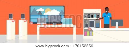 Shop specialized on selling electronic equipment. Mobile phones, display devices laptops gadgets smartphones computers screens monitors. Sale of digital units. Shop assistant offers his help. Vector illustration
