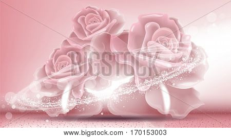 Rose flowers sparkling background. Ads template, droplet mock up isolated on dazzling roses backdrop. Place for brand text. Glamorous fragrance effects. Vector illustration pink color