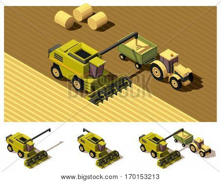 Vector isometric low poly combine harvester mowing wheat