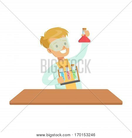 Biy Chemist And Test Tubes, Kid Doing Chemistry Science Research Dreaming Of Becoming Professional Scientist In The Future. Part Of Series With Children Working In Different Scientific Fields Vector Illustrations.