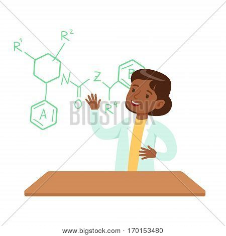 Girl Chemist Explaining Skeletal Chemical Formula, Kid Doing Science Research Dreaming Of Becoming Professional Scientist In The Future. Part Of Series With Children Working In Different Scientific Fields Vector Illustrations.