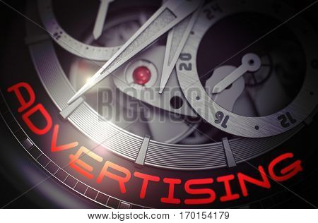 Luxury Wristwatch with Advertising on Face, Symbol of Time. Advertising on Men Wristwatch Detail, Chronograph Close View. Business Concept with Glowing Light Effect. 3D Rendering.