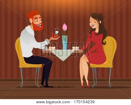Couple in love romantic evening in restaurant or cafe young man presents ring with big diamond to his beloved. Long shot. Date. Present on Valentines day 8 March engagement wedding.