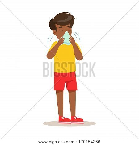 Sick Kid Blowing His Nose Feeling Unwell Suffering From Cold Sickness Needing Healthcare Medical Help Cartoon Character. Ill Child With Health Damage Showing The Symptoms Vector Illustrations.