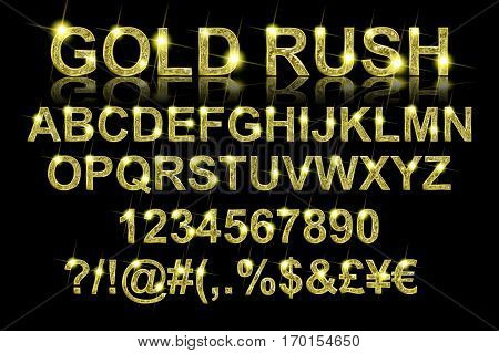 Gold Rush. Gold Alphabetic Fonts