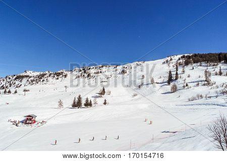 Views of the ski area Les arcs France.