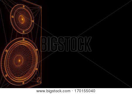 3D Music Speaker in Wireframe Hologram Style. Nice 3D Rendering