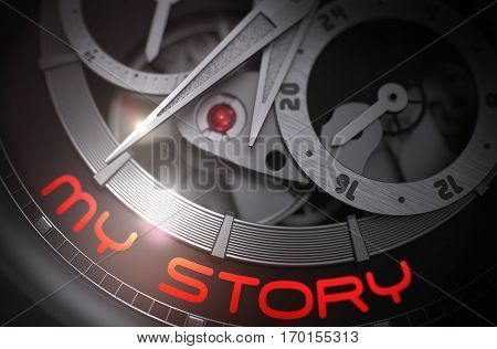 My Story on the Automatic Men Watch, Chronograph Closeup. My Story on Face of Luxury Men Pocket Watch Machinery Macro Detail Monochrome. Work Concept with Glow Effect and Lens Flare. 3D Rendering.