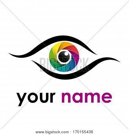 Vector sign rainbow eye iris isolated on white
