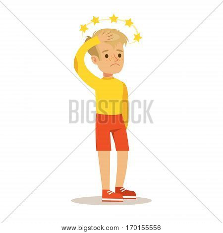 Sick Kid With Concussion And Stars Before Eyes Feeling Unwell Suffering From Injury Needing Healthcare Medical Help Cartoon Character. Ill Child With Health Damage Showing The Symptoms Vector Illustrations.
