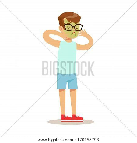 Sick Nauseous Kid Feeling Unwell Suffering From Sickness Needing Healthcare Medical Help Cartoon Character. Ill Child With Health Damage Showing The Symptoms Vector Illustrations.
