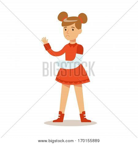 Sick Kid With Broken Arm Feeling Unwell Suffering From Injury Needing Healthcare Medical Help Cartoon Character. Ill Child With Health Damage Showing The Symptoms Vector Illustrations.