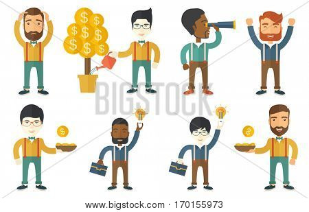 Investor watering money tree. Man investing money in business project. Investor investing money in business. Investment concept. Set of vector flat design illustrations isolated on white background.