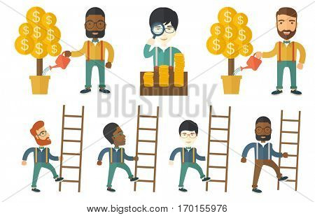 Happy businessman climbing the ladder. Businessman climbing upward. Businessman climbing to success. Concept of business goal. Set of vector flat design illustrations isolated on white background.