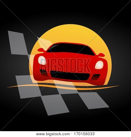 Vector sign supercar isolated on black background
