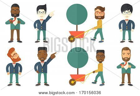 Happy businessman opening his jacket like superhero. Cheerful businessman superhero. Young businessman taking off his jacket like superhero. Set of vector illustrations isolated on white background.
