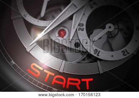 Start - Mechanical Wristwatch with Visible Mechanism and Inscription on the Face. Start on Men Watch, Chronograph Close View. Time and Business Concept with Glowing Light Effect. 3D Rendering.