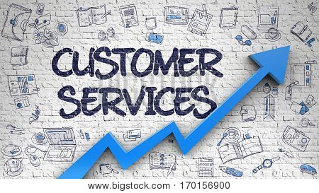Customer Services - Line Style Illustration with Doodle Design Elements. Customer Services Inscription on the Modern Line Style Illustration. with Blue Arrow and Doodle Design Icons Around.