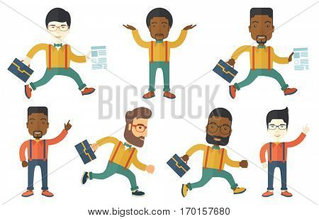 Businessman with briefcase and a document running. Smiling businessman running in a hurry. Cheerful businessman running forward. Set of vector flat design illustrations isolated on white background.