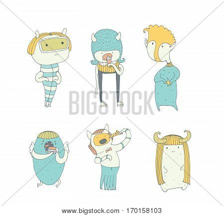 Set of cute colorful monsters hand drawn in doodle style isolated on white background. Lovely characters collection eating ice-cream pizza brownie. Vector illustration good for kids illustration.