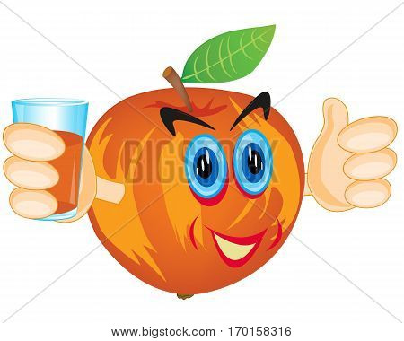 Cartoon alive apple with juice in hand on white background