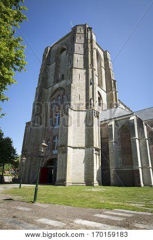Old church tower Grote kerk or Onze Lieve Vrouwekerk Veere The Netherlands