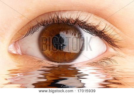Human eye reflected in a surface of water