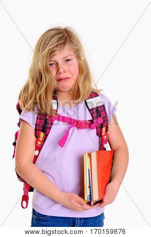 Sad Girl With Schoolbag