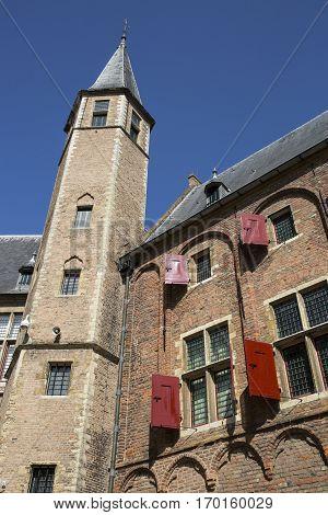 Abbey complex Middelburg Zeeland Netherlands with summer blus sky background