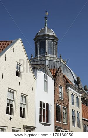 Dutch Gabble house and dome of a church - Oostkerk - Middelburg The Netherlands