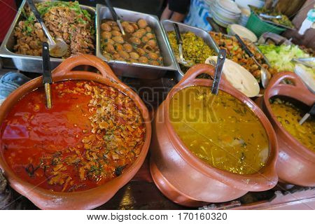 soup curry and hot meals in bowls