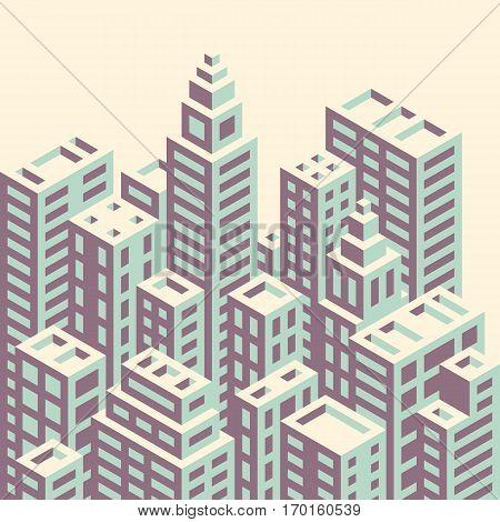 Retro style isometric city buildings vector illustration.