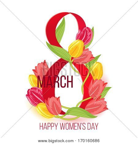Vector eight march happy womens day card design with tulip flowers. Holiday femininity poster illustration